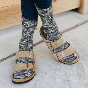 Birkenstsock Arizona Suede Leather Taupe Sandals